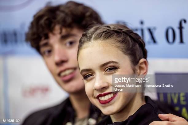 Caroline Green and Gordon Green of the United States pose at the kiss and cry in the Junior Ice Dance Free Dance during day 3 of the Riga Cup ISU...