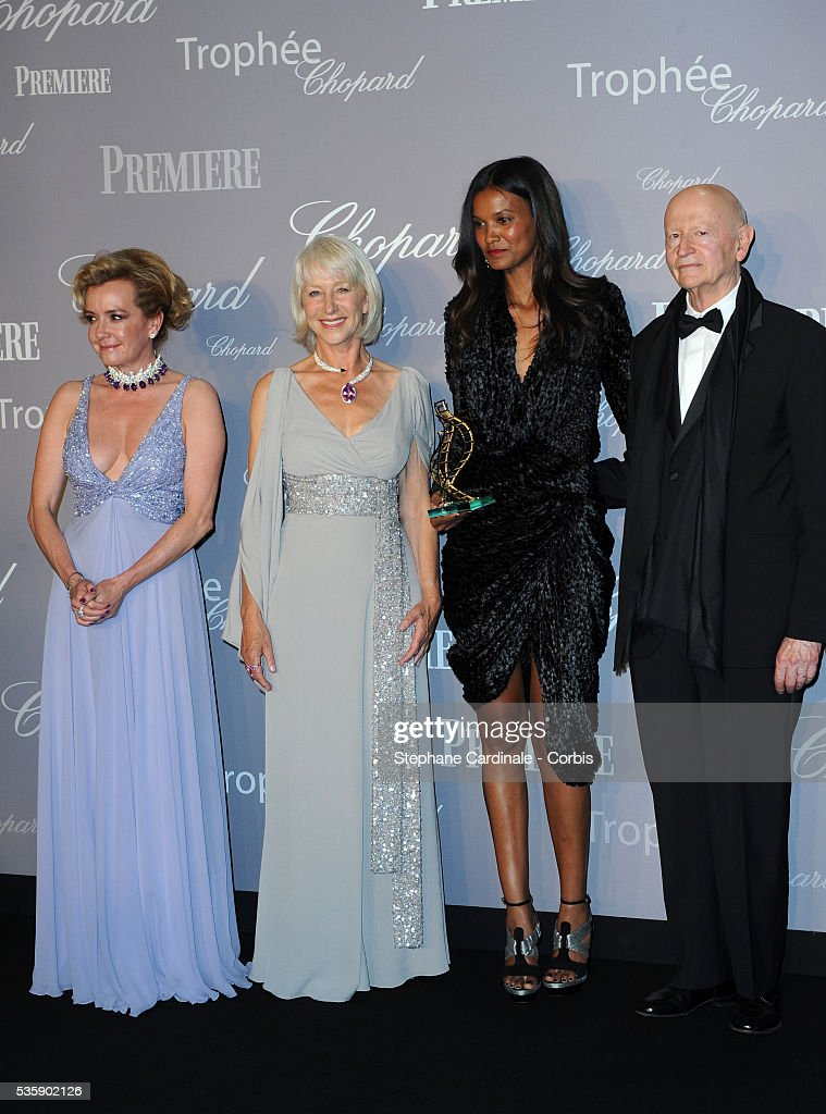 Caroline Gruosi- Scheufele, Helen Mirren, Liya Kebede and Gilles Jacob at the Chopard Trophy during the 63rd Cannes International Film Festival.