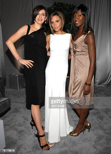 Caroline Hedley and Victoria Beckham and guests at Elton John AIDS Foundation Oscar Party Sponsored by Audi