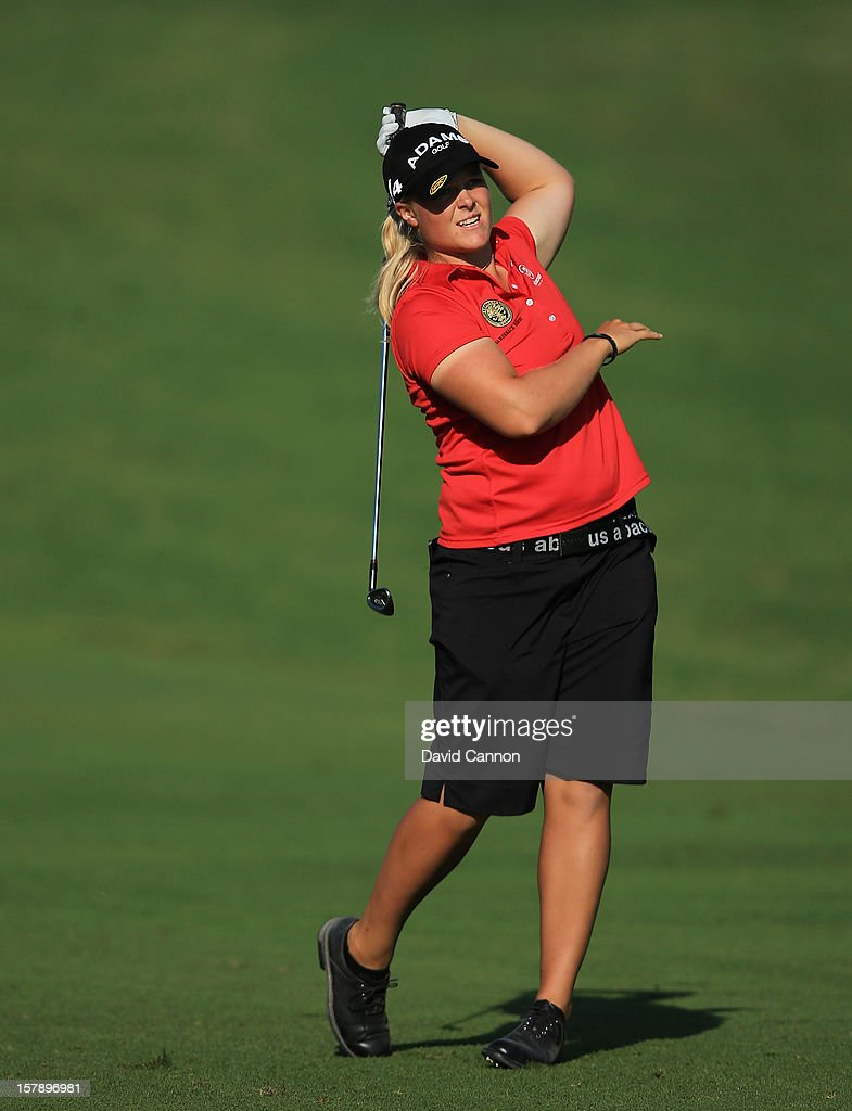 Caroline Hedwall of Sweden plays her second shot at the par 4, 14th hole during the third round of the 2012 Omega Dubai Ladies Masters on the Majilis Course at the Emirates Golf Club on December 7, 2012 in Dubai, United Arab Emirates.