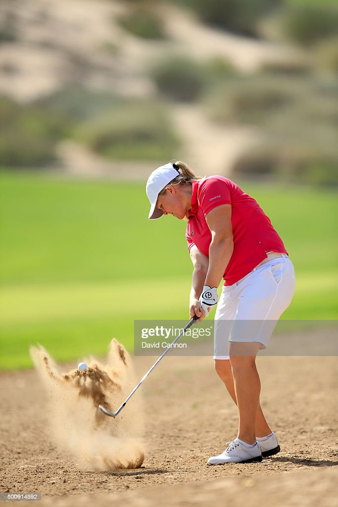 Caroline Hedwall of Sweden plays her second shot on the par 4 second hole during the third round of the 2015 Omega Dubai Ladies Masters on the Majlis...