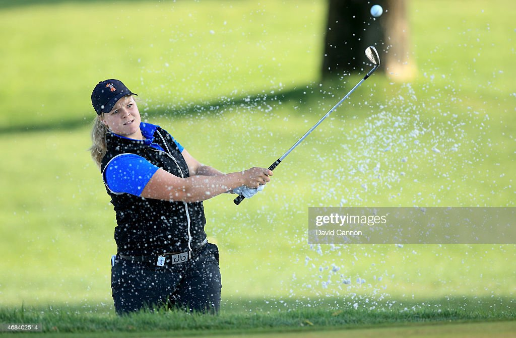 Caroline Hedwall of Sweden plays her third shot on the 11th hole during the first round of the ANA Inspiration on the Dinah Shore Tournament Course at Mission Hills Country Club on April 2, 2015 in Rancho Mirage, California.