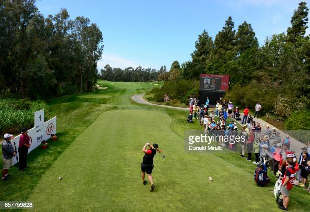 Caroline Hedwall of Sweden tees off the 1st hole during Round Three of the KIA Classic at the Park Hyatt Aviara Resort on March 25 2017 in Carlsbad...