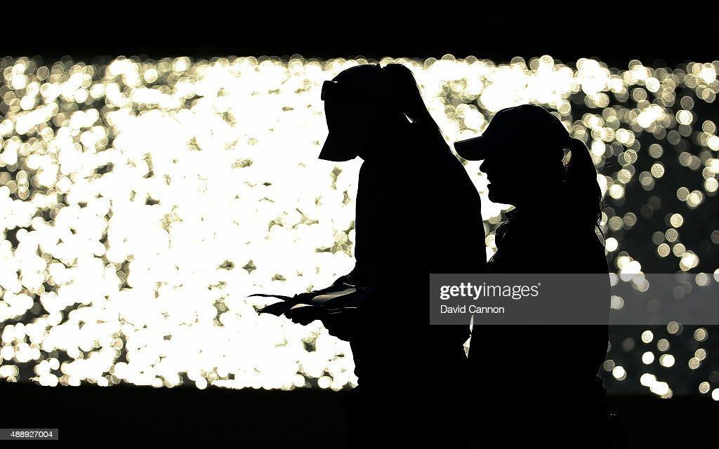 Caroline Hedwall of the European team and her partner Anna Nordqvist on the 12th green during the Friday afternoon fourball matches in the 2015...