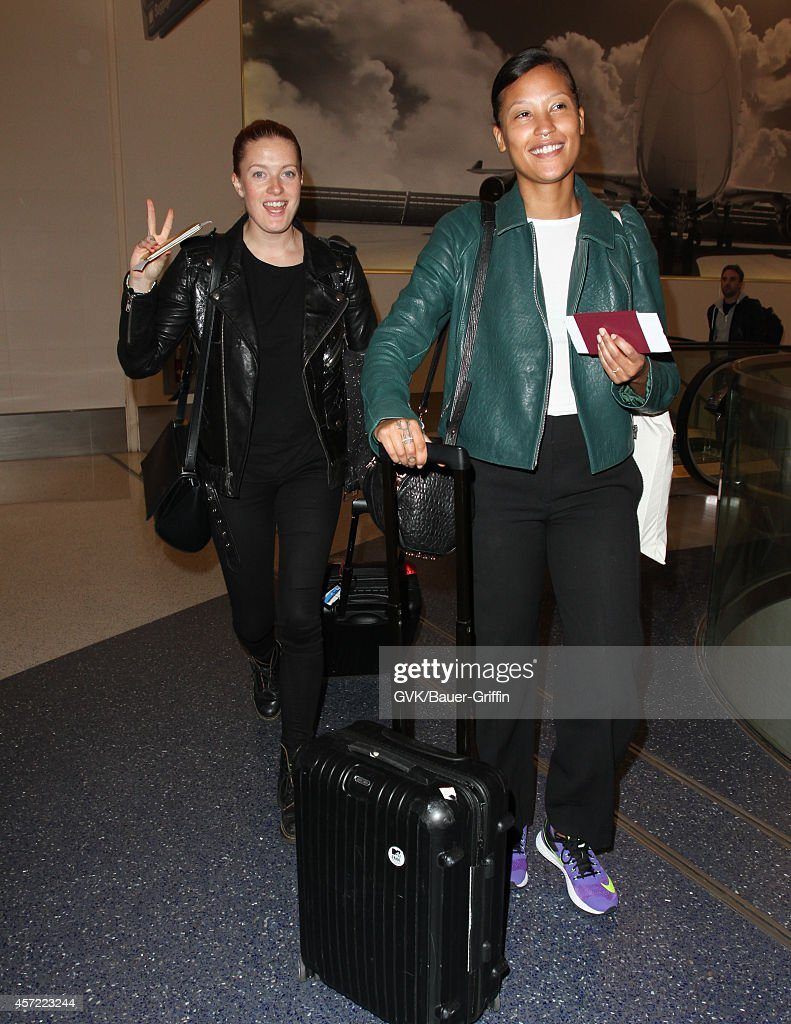 Caroline Hjelt and Aino Jawo of Icona Pop are seen at LAX on October 14 2014 in Los Angeles California