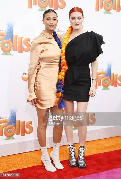Caroline Hjelt and Aino Jawo of Icona Pop arrive at the Los Angeles premiere of 20th Century Fox's 'Trolls' held at Regency Village Theatre on...