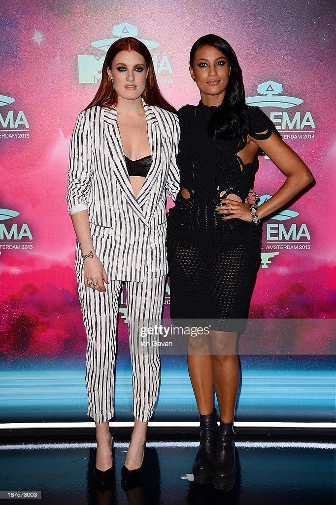 Caroline Hjelt and Aino Jawo of Icona Pop attend the MTV EMA's 2013 at the Ziggo Dome on November 10, 2013 in Amsterdam, Netherlands.