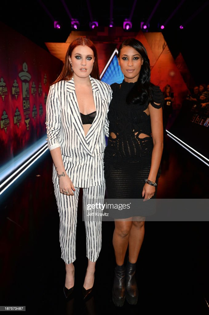 Caroline Hjelt and Aino Jawo of Icona Pop attend the MTV EMA's 2013 at the Ziggo Dome on November 10, 2013 in Amsterdam, Netherlands.