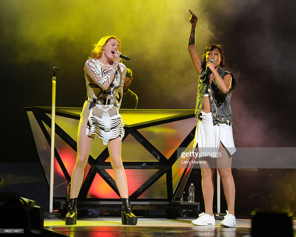 Caroline Hjelt and Aino Jawo of Icona Pop perform at AmericanAirlines Arena on March 22 2014 in Miami Florida