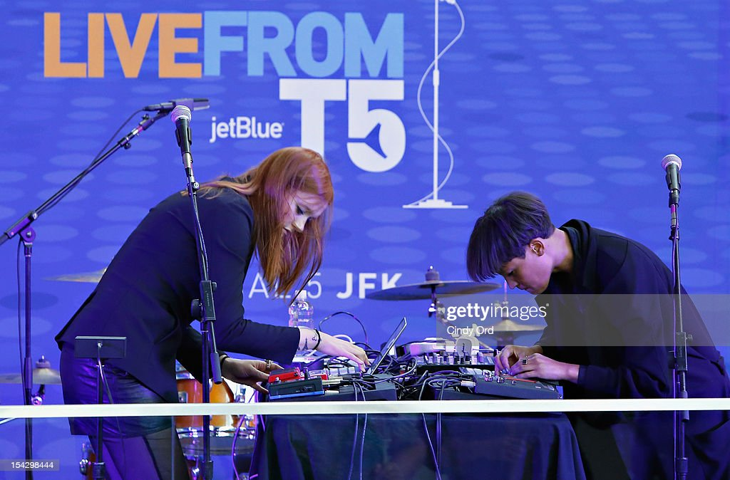 Caroline Hjelt and Aino Jawo of Icona Pop perform at JetBlue's Live From T5 Concert Series - CMJ Music Access Live at John F. Kennedy International Airport on October 17, 2012 in New York City.