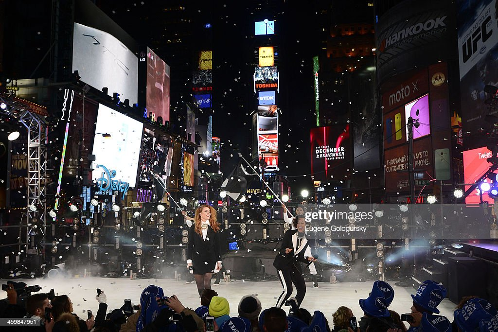 Caroline Hjelt and Aino Jawo of Icona Pop perform during the New Year's Eve Countdown at Times Square on December 31, 2013 in New York City.