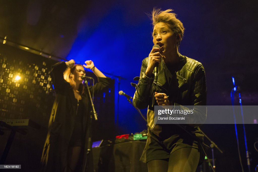 Caroline Hjelt and Aino Jawo of Icona Pop perform on stage at UIC Pavilion on February 22 2013 in Chicago Illinois