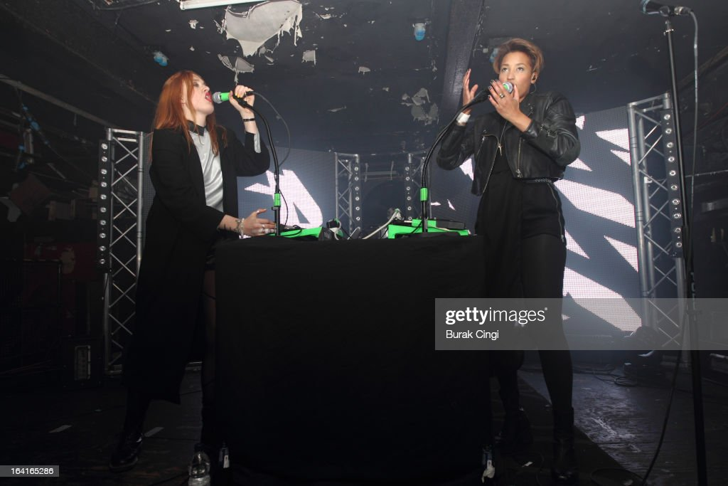 Caroline Hjelt and Aino Jawo of Icona Pop perform on stage on March 20, 2013 in London, England.