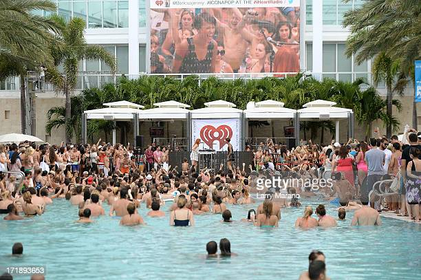 Caroline Hjelt and Aino Jawo of Icona Pop perform onstage at the iHeartRadio Ultimate Pool Party Presented by VISIT FLORIDA at Fontainebleau's...