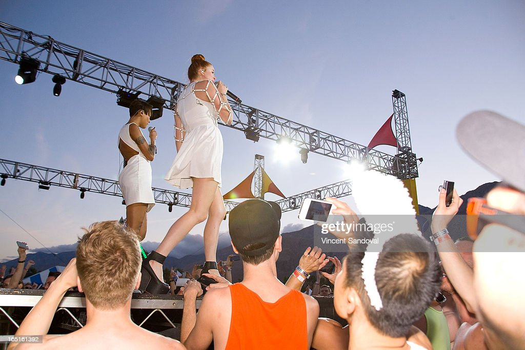 Caroline Hjelt and Aino Jawo of Icona Pop performs at the Circus Xtreme T-Dance during Jeffrey Sanker presents White Party Palm Springs 2013 Day 3 at the White Party Park on March 31, 2013 in Palm Springs, California.