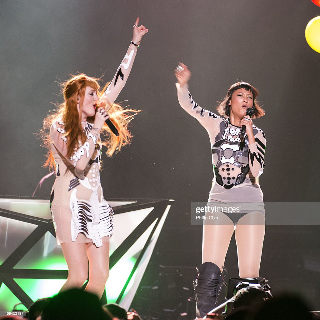 Caroline Hjelt and Aino Jawo of Icona Pop performs for Miley Cyrus 'Bangerz Tour' tour opener at Pepsi Live at Rogers Arena on February 14, 2014 in Vancouver, Canada.