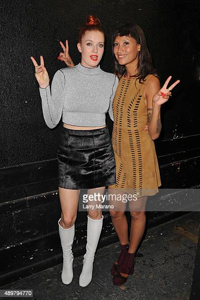 Caroline Hjelt and Aino Jawo of Icona Pop pose backstage during 973 Hit Sessions at Revolution on September 2015 in Fort Lauderdale Florida