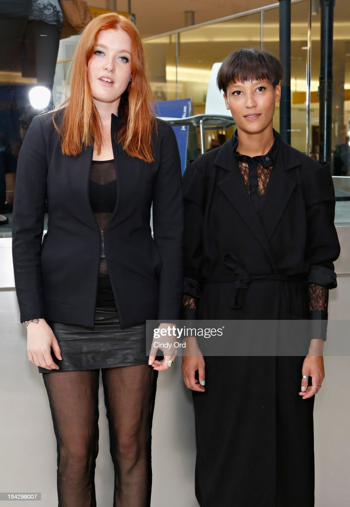 Caroline Hjelt and Aino Jawo of Icona Pop pose prior to performing at JetBlue's Live From T5 Concert Series - CMJ Music Access Live at John F. Kennedy International Airport on October 17, 2012 in New York City.