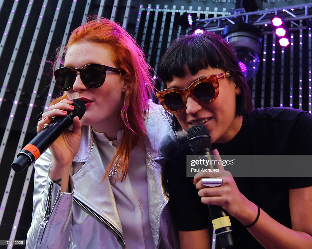 Caroline Hjelt and Aino Jawo of the Girl Group ' Icona Pop' perform live at Universal CityWalk's '5 Towers' at 5 Towers Outdoor Concert Arena on...