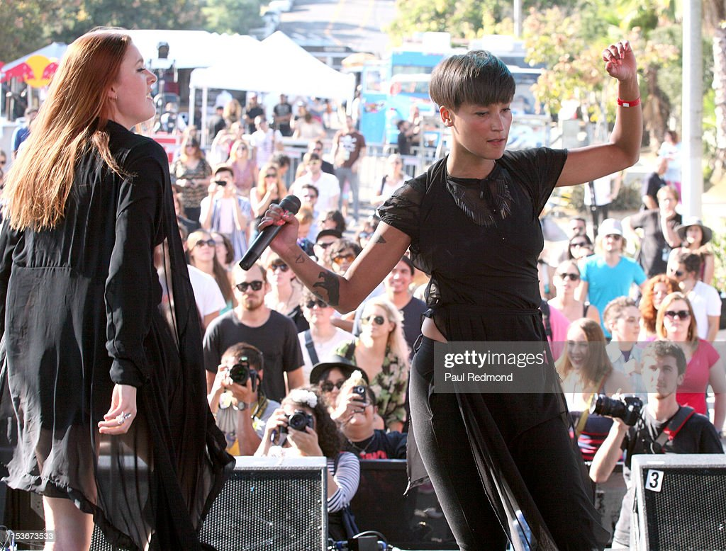 Caroline Hjelt and Aino Jawo of the musical group Icona Pop performing at the 3rd Annual Filter Magazine Culture Collide 2012 Festival - Day 4 on October 7, 2012 in Los Angeles, California.