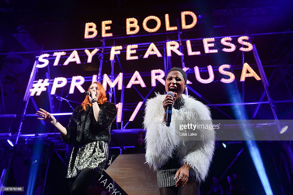 Caroline Hjelt and Aino Jawo singers of Icona Pop perform at The Keke Palmer Refinery29 Host Club Primania Event at Skybox Event Center on November...