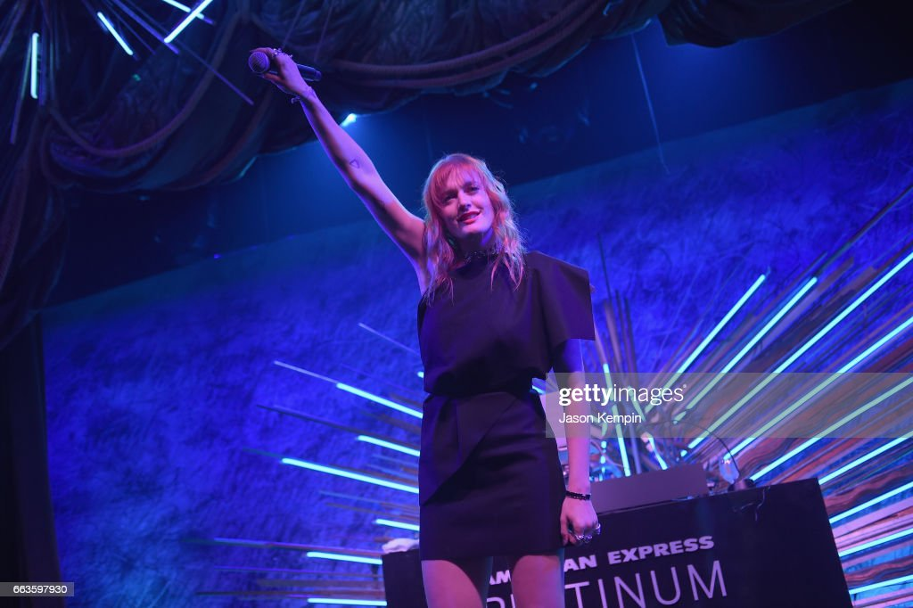 Caroline Hjelt of Icona Pop perform at the American Express Celebrates The New Platinum Card With Hamilton Takeover Experience on April 1, 2017 in New York City.