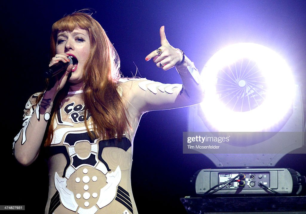 Caroline Hjelt of Icona Pop performs as part of the 'Bangerz Tour' at ORACLE Arena on February 24 2014 in Oakland California