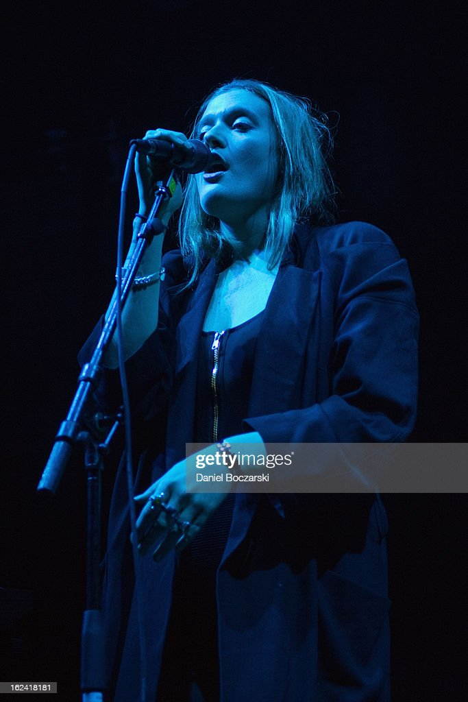 Caroline Hjelt of Icona Pop performs on stage at UIC Pavilion on February 22, 2013 in Chicago, Illinois.
