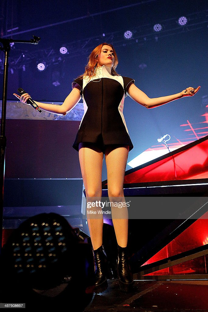 Caroline Hjelt of Icona Pop performs onstage at the Fonda Theatre on December 17 2013 in Hollywood California