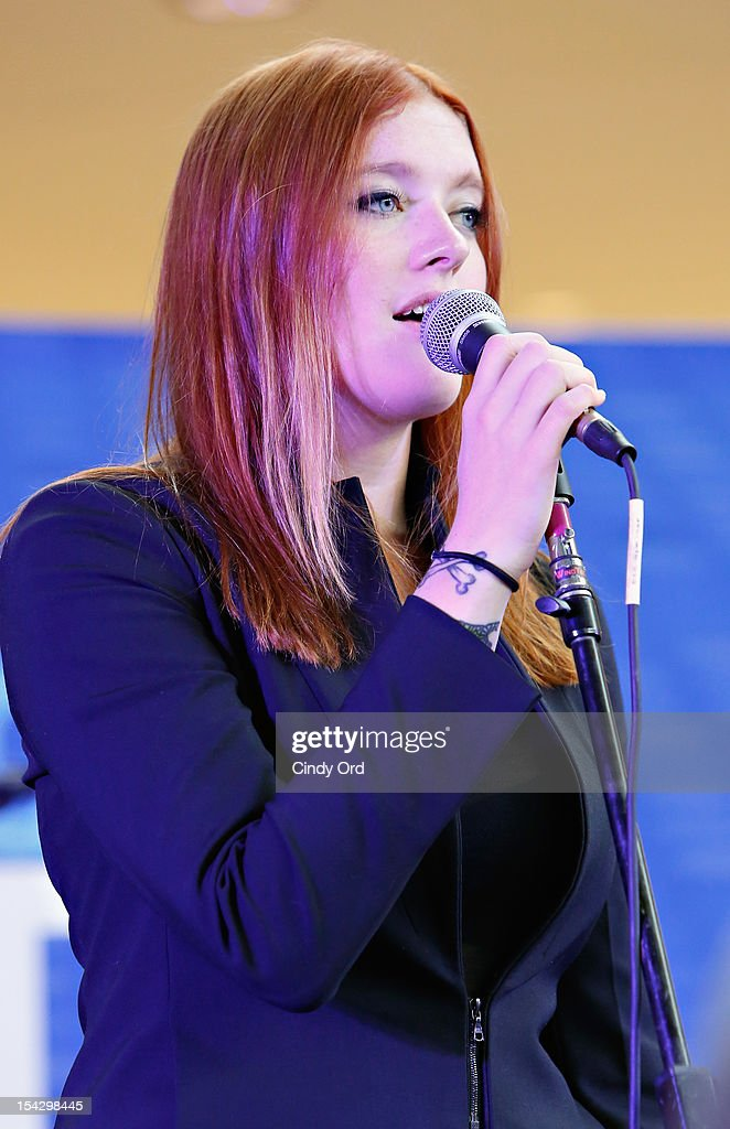 Caroline Hjelt of Icona Pop pose performs at JetBlue's Live From T5 Concert Series - CMJ Music Access Live at John F. Kennedy International Airport on October 17, 2012 in New York City.
