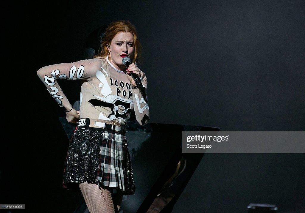 Caroline Hjelt of Icona PopIcona Pop performs at The Palace of Auburn Hills on April 12, 2014 in Auburn Hills, Michigan.