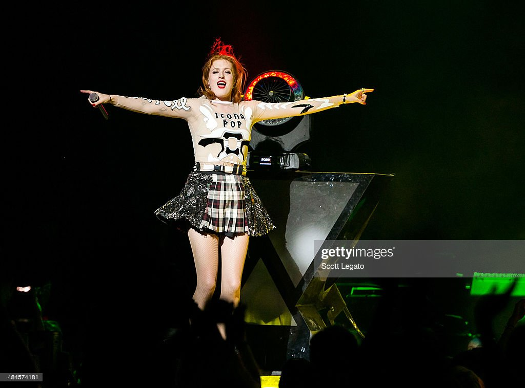 Caroline Hjelt of Icona PopIcona Pop performs at The Palace of Auburn Hills on April 12, 2014 in Auburn Hills, Michigan.