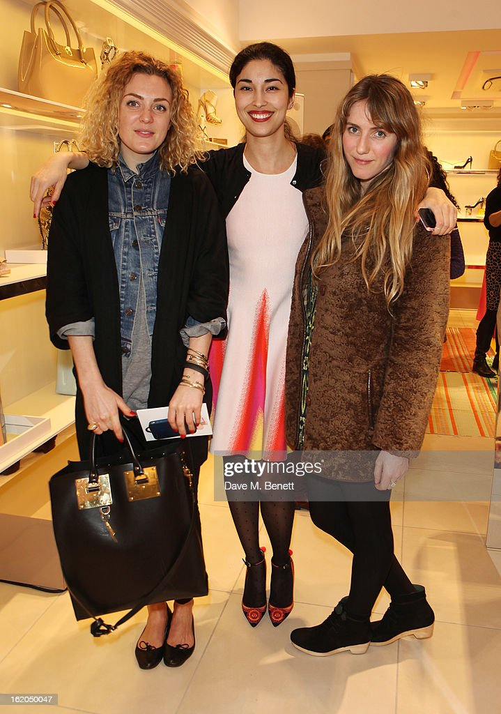 Caroline Issa (C) and guests attends as L.K. Bennett London and Caroline Issa launch their exclusive collection of shoes and handbags for Spring Summer 2013 at L.K. Bennett on February 18, 2013 in London, England.