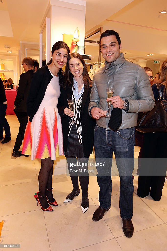 Caroline Issa (L) and guests attends as L.K. Bennett London and Caroline Issa launch their exclusive collection of shoes and handbags for Spring Summer 2013 at L.K. Bennett on February 18, 2013 in London, England.