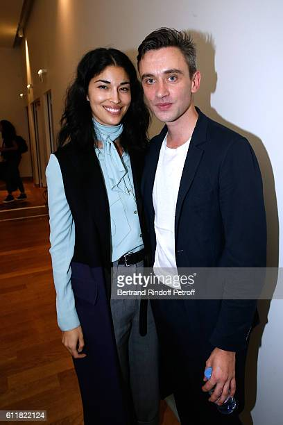 Caroline Issa and Stylist Guillaume Henry pose Backstage after the Nina Ricci show as part of the Paris Fashion Week Womenswear Spring/Summer 2017 on...