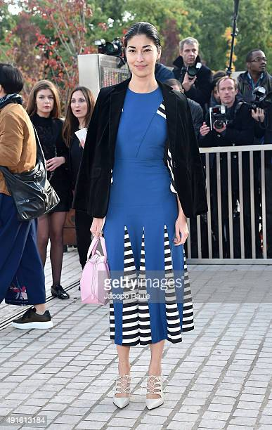 Caroline Issa arrives at the Louis Vuitton Fashion Show during the Paris Fashion Week S/S 2016 Day Nine on October 7 2015 in Paris France