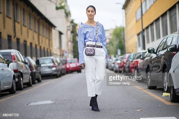 Caroline Issa during Milan Fashion Week Spring/Summer 16 on September 27 2015 in Milan Italy