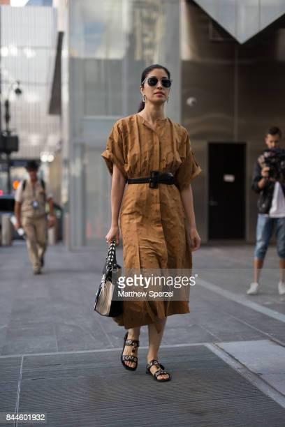 Caroline Issa is seen attending Monse during New York Fashion Week wearing Jason Wu on September 8 2017 in New York City