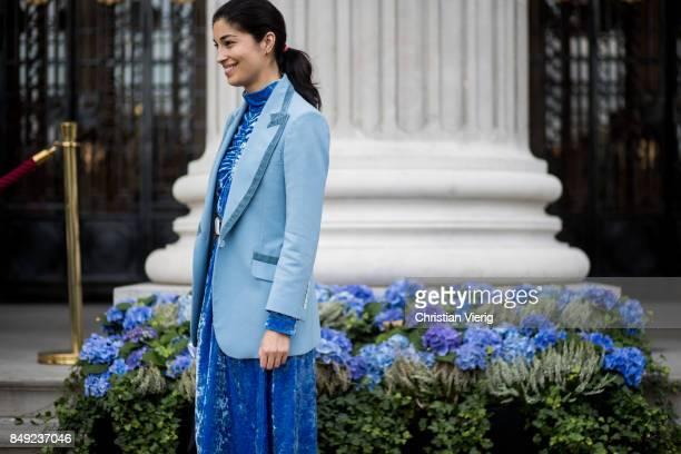 Caroline Issa outside Emilia Wickstead during London Fashion Week September 2017 on September 18 2017 in London England