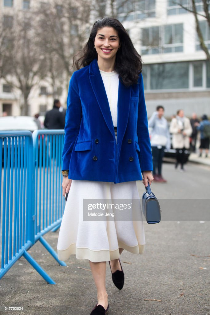 Caroline Issa outside the Loewe show on March 3, 2017 in Paris, France.