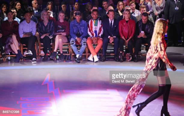 Caroline Issa Shawn Yue Poppy Delevingne Lara Stone Neymar Lewis Hamilton Frank Cancelloni Yolanda Hadid and Luiz Mattos watch Gigi Hadid walk the...