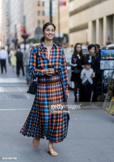Caroline Issa wearing a checked dress seen in the streets of Manhattan outside Victoria Beckham during New York Fashion Week on September 10 2017 in...