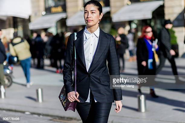 Caroline Issa wearing a Dior bag outside Schiaparelli during the Paris Fashion Week Haute Couture Spring/Summer 2016 on January 25 2016 in Paris...