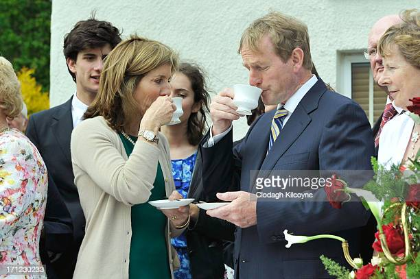 Caroline Kennedy and Enda Kenny have a cup of tea at the Kennedy ancestral homestead as part of commemorations for the 50th anniversary of the visit...