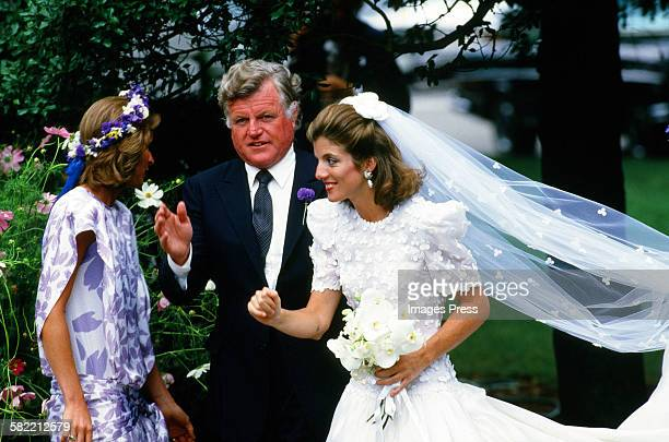 Caroline Kennedy and Ted Kennedy attend the wedding ceremony of Caroline Kennedy and Edwin Schlossberg in the Church of Our Lady of Victory on July...