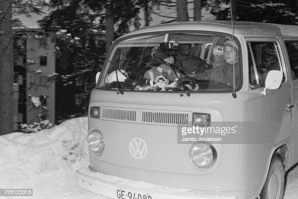 Caroline Kennedy at the wheel of a Volkswagen Camper van they are using during a holiday at the CranssurSierre ski resort in Switzerland 27th...