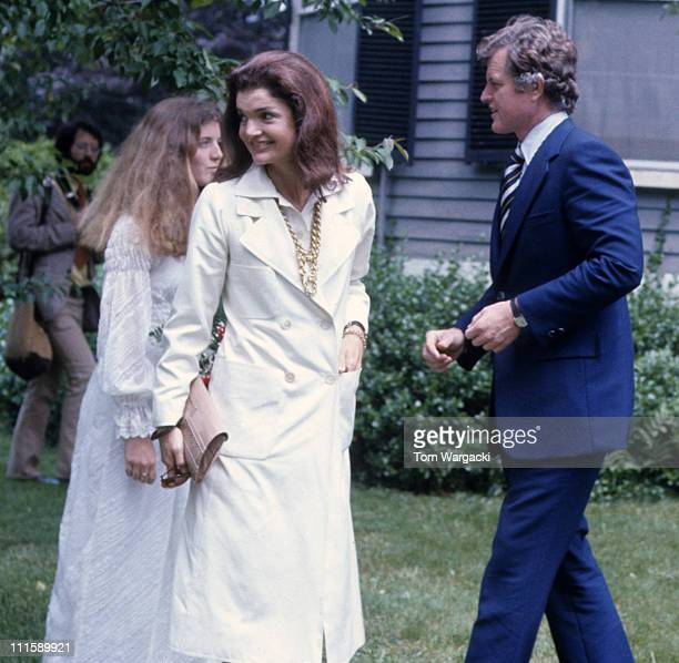 Caroline Kennedy Jackie Onassis and Ted Kennedy during Caroline Kennedy's Graduation Party June 6 1973 at Kennedy Compound in Hyannisport United...