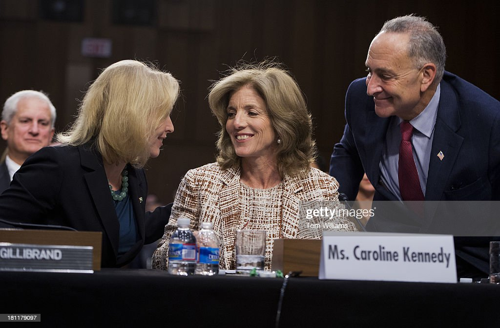 Caroline Kennedy, nominee for ambassador to Japan, is introduced by Sens. Kirsten Gillibrand, D-N.Y., and Chuck Schumer, D-N.Y., during her confirmation hearing before the Senate Foreign Relations Committee hearing in Hart Building.