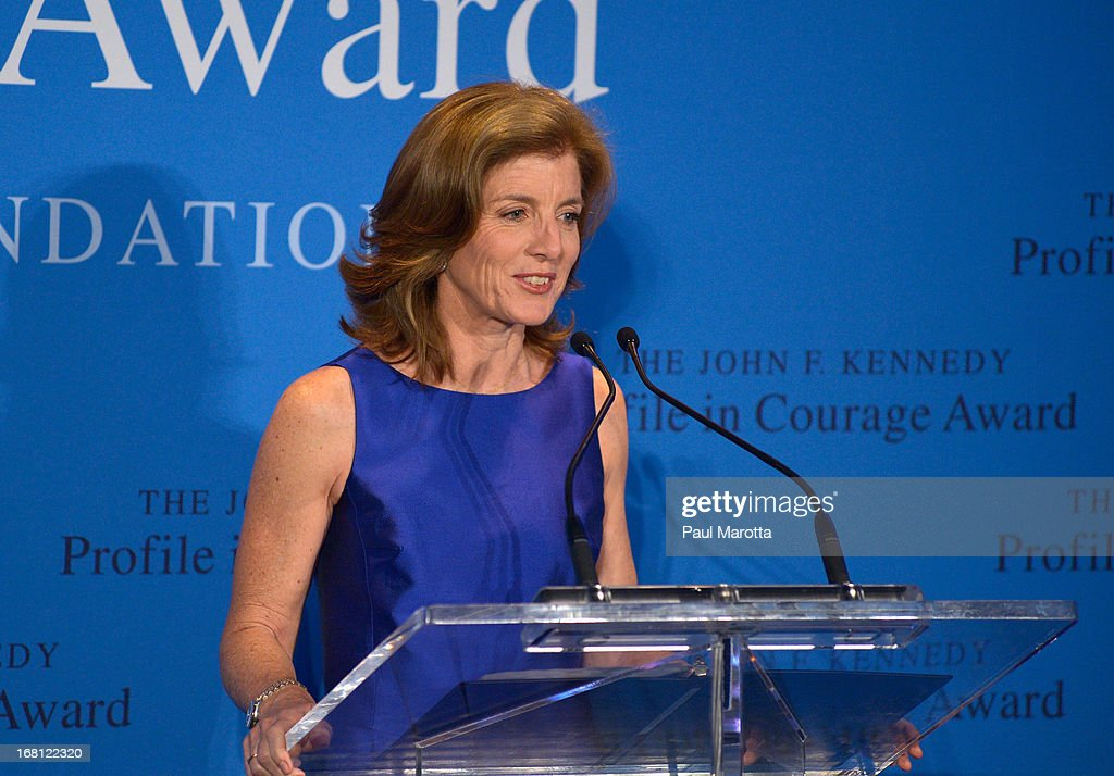 <a gi-track='captionPersonalityLinkClicked' href=/galleries/search?phrase=Caroline+Kennedy&family=editorial&specificpeople=93208 ng-click='$event.stopPropagation()'>Caroline Kennedy</a> presents former Congresswoman Gabrielle 'Gabby' Giffords with the 2013 John F. Kennedy Profile in Courage Award at The John F. Kennedy Presidential Library And Museum on May 5, 2013 in Boston, Massachusetts.