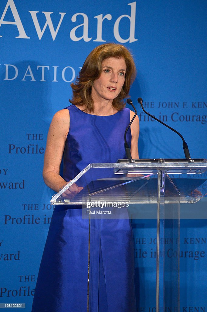 Caroline Kennedy presents former Congresswoman Gabrielle 'Gabby' Giffords with the 2013 John F. Kennedy Profile in Courage Award at The John F. Kennedy Presidential Library And Museum on May 5, 2013 in Boston, Massachusetts.